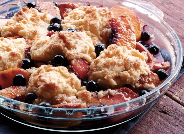 Healthy blueberry-peach cobbler