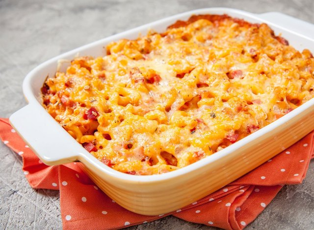 mac and cheese with ham and pumpkin in baking dish