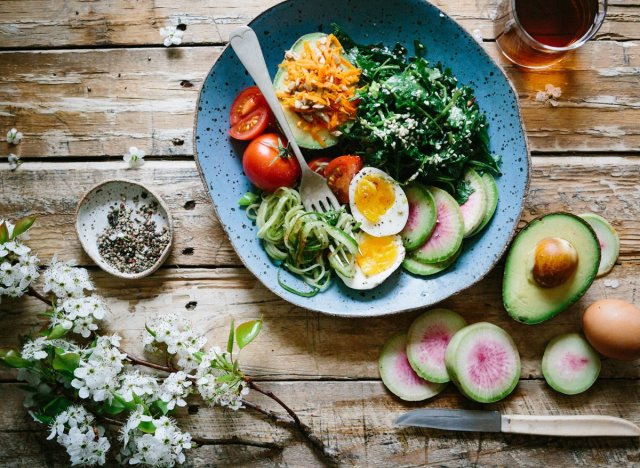 Healthy lunch bowl with eggs