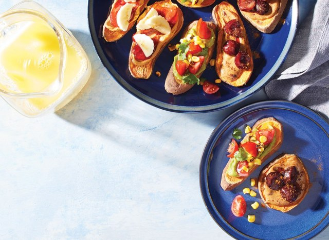 sweet potato toasts on blue plate with butter