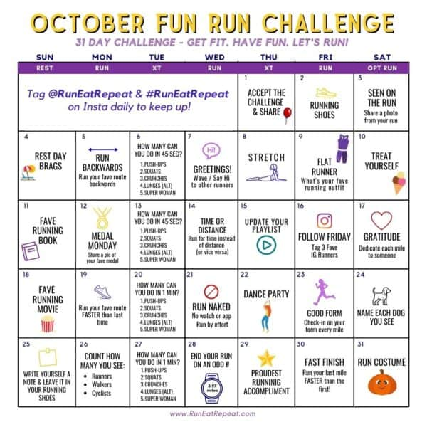 Fun RUN challenge Instagram @RunEatRepeat