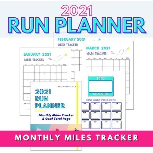 2021 Running Miles Tracker free printable