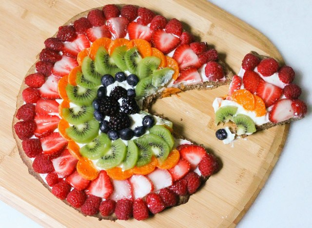 Fruit pizza recipe slice ready to serve for dessert