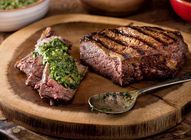 steak with chimichurri sauce