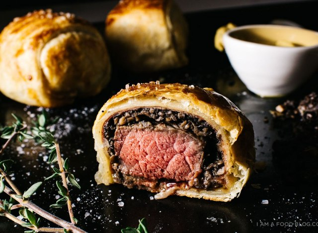 mini beef wellington on platter