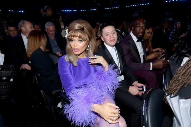 andra day purple feather outfit
