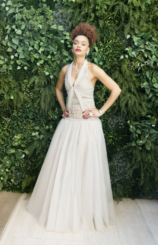 andra day in white or gray gown at the golden globes