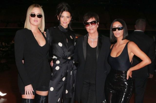 khloe kardashian, kendall jenner, kris jenner, and kim kardashian in black clothing and sunglasses