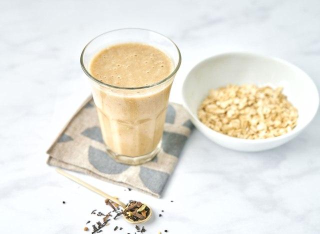 oat chai smoothie on napkin