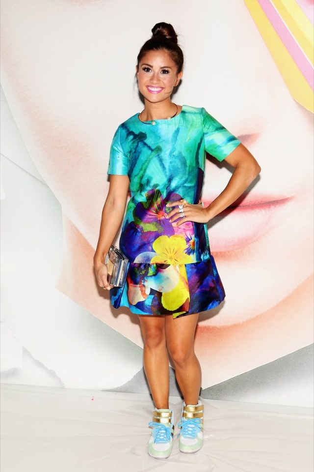 catherine giudici in colorful dress on red carpet