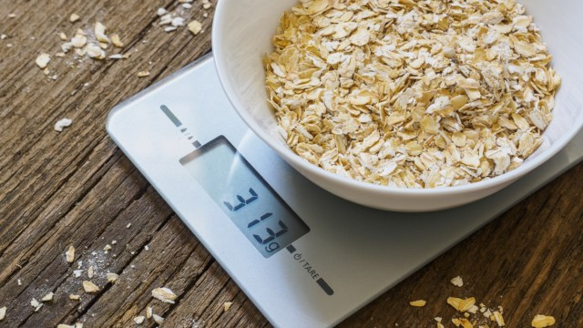 bowl of oatmeal on a food scale